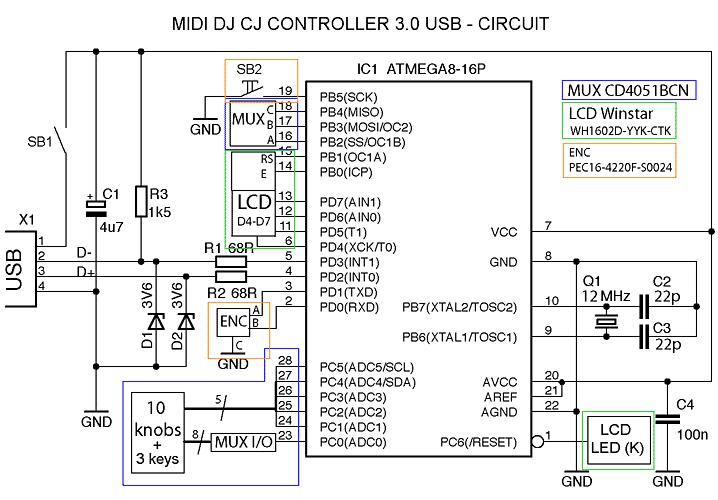 USB - Схема электрическая